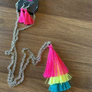 Paparazzi tassel necklace with earrings
